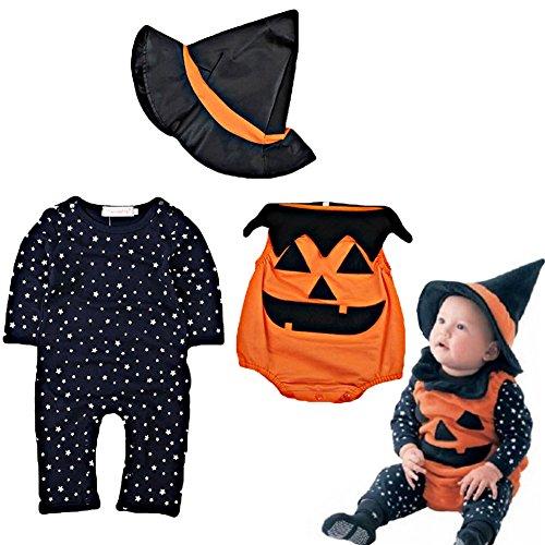 ARAUS Disfraz Halloween Ropa Recién nacido Niños Calabaza Mono + Sombrero de bruja 3piezas Conjunto Otoño Invierno Ropa (80cm-3~6mes)