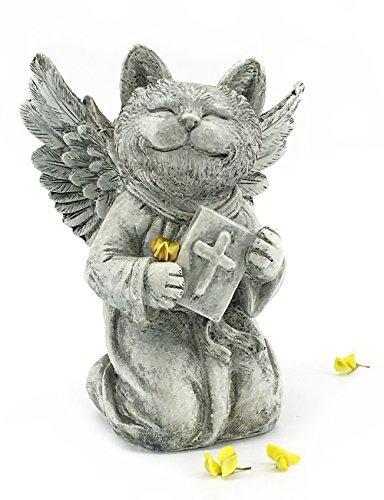 Elaan31 Cat Memorial Garden Statue betend mit Engel Flügel -