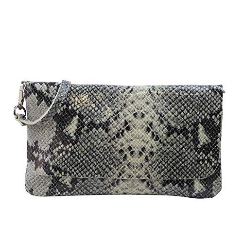SH Leder Echtleder Umhängetasche Clutch kleine Tasche Abendtasche 24,50x15cm Ely G149 (Schlange Beige) Klein Schlange