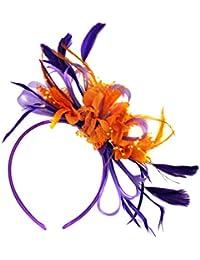 Diadema para el cabello con plumas moradas y naranjas, tocado para el pelo para bodas, carreras de caballos