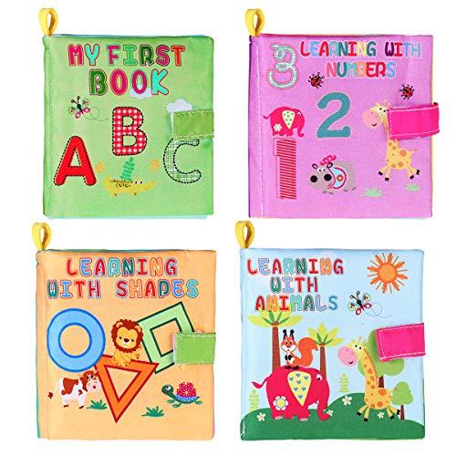 TOYMYTOY Livres de jouets de bébé Livre déveil Enfant Le Livre des Découvertes - 4 Pièces