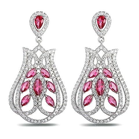 AnaZoz Bijoux Femme Boucles d'Oreilles Fantaisie Plaqué Or Blanc Chandelier Tulip Incrusté Cristal Autrichien Rouge Pendants d'Oreilles