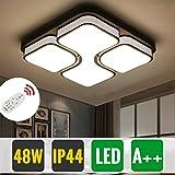 HG® 48W Schlafzimmer Deckenbeleuchtung LED Deckenleuchte Dimmbar Fernbedienung eckig