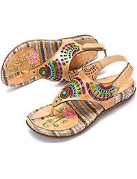 d17e457b367 gracosy Sandalias Cuero Verano Mujer Estilo Bohemia Chanclas Zapatos para  Mujer Slip-On de Dedo