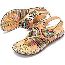 gracosy Sandalias Cuero Verano Mujer Estilo Bohemia Chanclas Zapatos para Mujer Slip-On de Dedo
