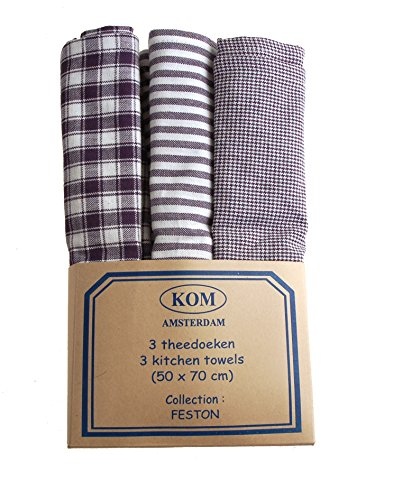 Campagne Table Linen Lot de 3 torchons Bleu