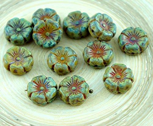 Amber Glas Schneiden (10er Rustikale Picasso Braun Gelb Tschechische Glas Geschnitzt Hawaii-Blume Münze Perlen 12mm)