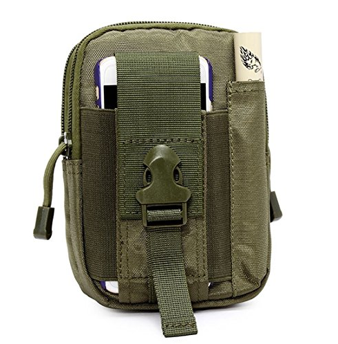 Lisirs 1000D Impermeabile Marsupio tattico Tasche Marsupio per Uomo Sport Mimetico Molle Universale Telefono Cellulare Custodia Pratica Dispositivo Cintura da Uomo Borsa Borsello Verde Militare