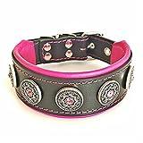 Bestia Pet BC1MPK1 Bijou Lederhalsband, Handarbeit, Top Qualität, 5 cm breit, M, schwarz und pink