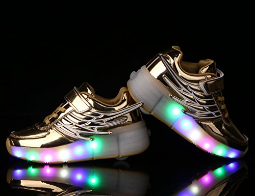 E Rolo Meninos Mudança ang Asa Mr Sapatos De As 7 Led Neutro art Kuli Rolo Piscando Skate Sapatilhas Meninas Luzes Cor Ajustável Ouro Rodas Patinar Calçam Com De qaTa8ngWx