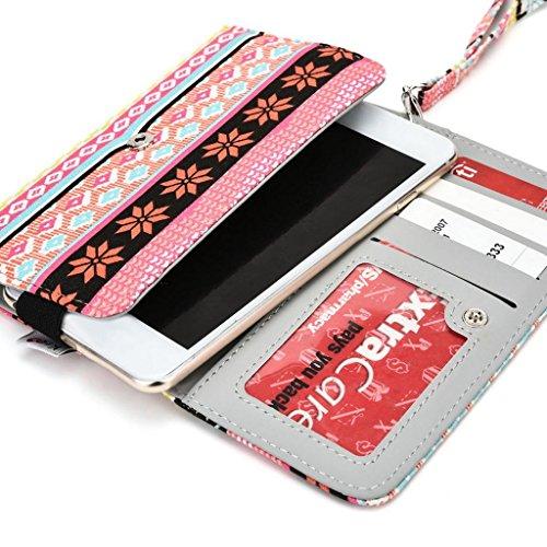 Kroo Téléphone portable Dragonne de transport étui avec porte-cartes pour pour ZTE Nubia Z7 jaune rose