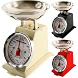NEW 3KG TRADITIONAL WEIGHING KITCHEN SCALE BOWL RETRO SCALES MECHANICAL VINTAGE (CREAM)