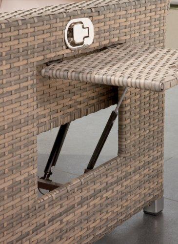 greemotion Bahia Sofa Twin 429106, Love Seat aus Stahl und Polyethylengeflecht, die Rückenlehne ist stufenlos verstellbar, inkl. 8 Nacken- und Sitzkissen, mit Stauraum für die Kissen im Fußteil, die Liege hat 2 Ablagetablets für Getränke, die Maße betragen ca. 121 x 86 x 99 cm - 3