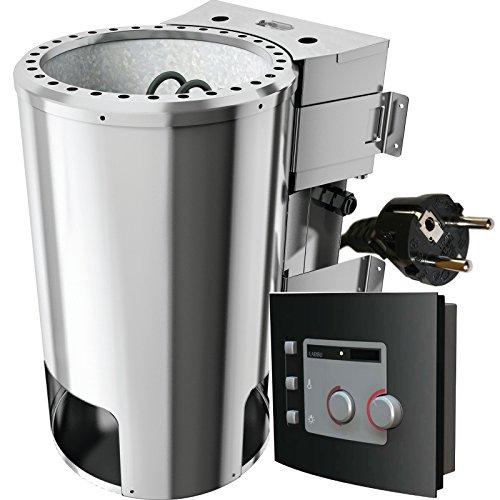 Karibu Bio-Saunaofen 3,6 kW mit Steuerung 20 kg Saunasteine 230 V Steckdose Sauna Ofen Energiesparofen mit elektronischer Außensteuerung Bio-Kombiofen mit Verdampfer