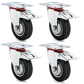 AMIGOB 4 Stück 100mm Transportrollen Lenkrollen mit Bremse Schwerlastrollen Tragfähigkeit 70KG/Rolle Schwarz Gummi Stahlblech Kapazität 210kg insgesamt
