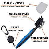 FAVPORT Golf Club Brush and Groove Cleaner Brush Brushes in 6 For Golf Shoes/Golf Club/Golf/Golf Groove, 2 Ft Retractable Zip-line Aluminum Carabiner (Blue)
