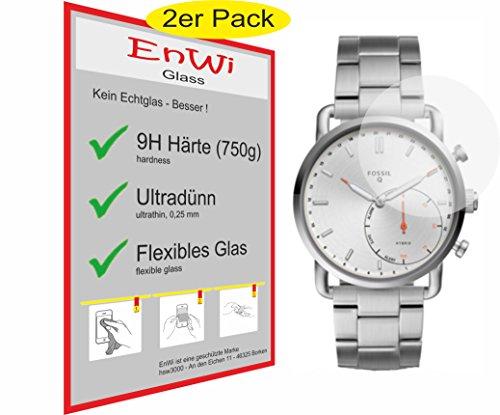 EnWi Glass Panzerfolie 9H EXTREM Harte Displayschutzfolie 2 STÜCK für Fossil Q Commuter