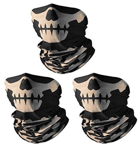 3x Premium Multifunktionstuch | Sturmmaske | Bandana | Schlauchtuch | Halstuch mit Totenkopf- Skelettmasken für Motorrad Fahrrad Ski Paintball Gamer Karneval Kostüm Skull Maske ... (3 schwarz/weiss) -