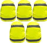 Rucksack Regenschutz 5er Set Rucksackhülle Gelb Regenhülle Rucksack Universal mit Reflektorstreifen und Gummizug