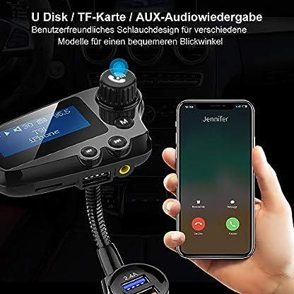 FM-Transmitter-Wodgreat-Auto-Bluetooth-50-Adapter-mit-174-Zoll-Grobildschirm-mit-2-USB-Anschlssen-30-Quick-Charger-fr-iOS-und-Android-Gerte-Untersttzt-32GB-U-DiskTF-KarteAUX-Ausgang