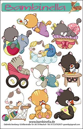 Bambinella® Stickerparade - 10 Sticker - Motiv: Katzen Babys - Made in eigener Werkstatt in Germany -