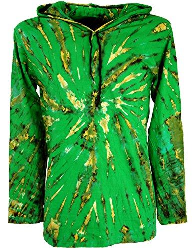 Guru-Shop Batik Shirt, Goa Tie Dye Langarmshirt, Herren, Lemon, Baumwolle, Size:XL, Sweatshirts & Hoodies Alternative Bekleidung - Herren-xl Tie Dye