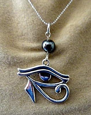 pendentif, oeil d horus, métal argenté, hématite