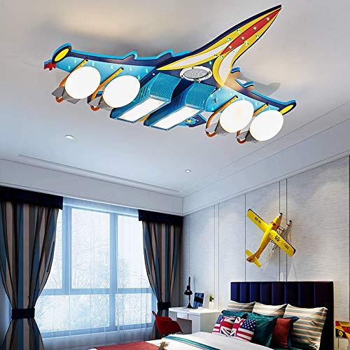 SZ&LAM Dekorative Leuchter LED-Flugzeuges, Kinderzimmerlampe, Jungenschlafzimmerdeckenlampe, Moderne Kreative Karikaturstudie, Flugzeugbeleuchtung,sixlampholders -
