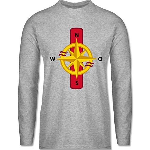 Anfangsbuchstaben - I Schifffahrt - Longsleeve / langärmeliges T-Shirt für Herren Grau Meliert