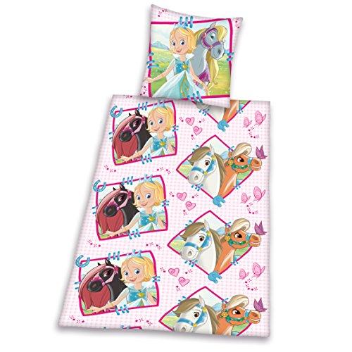 465231050412 Bettwäsche Prinzessin Emmy, Kopfkissenbezug 80 x 80 cm mit Bettbezug 135 x 200 cm, 100 % Baumwolle, Flanell / Biber
