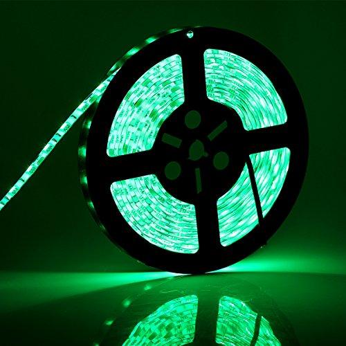 SUPERNIGHT 12V Waterproof LED Lights,5050 smd 16.4Ft 5M 300 LED 60leds/m,TV Backlight,Led Strips,Ribbon Light,Rope Lighting,Kitchen Led Lighting - Green
