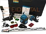 geo-Fennel ecoline vollautomatischer Rotationslaser EL 515 im Komplett-Set, Baulaser, selbstnivellierend, 3mm Genauigkeit auf 10 Meter, inkl. Stativ, Nivellierlatte, Empfänger, Koffer uvm.