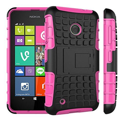 Qiaogle Telefon Case - Shockproof TPU + PC Hybrid Ständer Schutzhülle Case für Nokia Lumia 530 (4.0 Zoll) - HH07 / Rosa (Nokia Lumia 530 Case Hybrid)