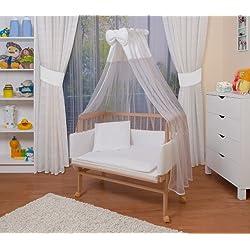 WALDIN Cuna colecho para bebé con equipamiento completo, natural sin tratamiento, 8 colores a elegir,blanco