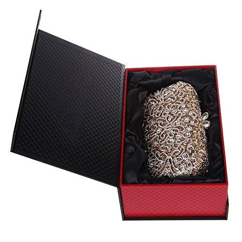 Santimon Donna Pochette Borsa Lusso Conservato Fiore Blocco Borsellini Borsetta Moda Borse Con Tracolla Amovibile 2 Colori oro