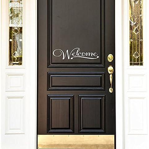 Welcome–Casa Segno Porta Adesivo vinilico, Vinile, Black, 6.5