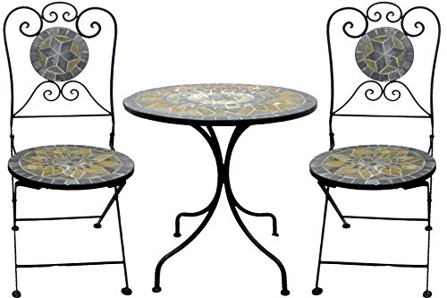 Mosaik Bistro Stuhl (Mosaik Eisen- Set Garnitur 3-tlg. im antiken Stil Bistro Set)