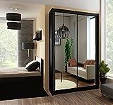 Kleiderschrank PARIS in Schwarz, mit Spiegel, Breite: wahlweise 120cm/150cm/160cm/203cm