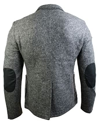 Mens Slim Fit Wool Blazer Jacket Button Smart Casual Elbow Patch Grey Black
