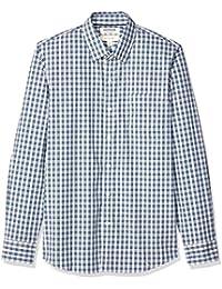 Marca Amazon - Goodthreads - Camisa cómoda de popelín elástico con manga larga, corte entallado, y de cuidado fácil, para hombre