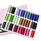 Oyfel Nähgarn Baumwolle Rolle Handmaschine Spulen Regenbogen 39 Farben für Quilten Nähen Handmaschine Nähkasten Set Zubehör