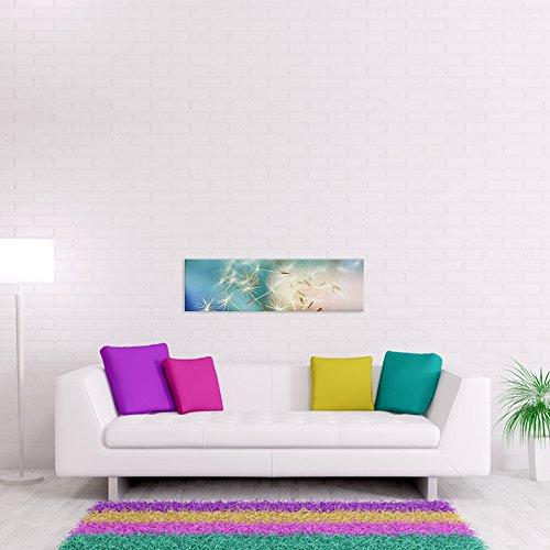 malango® - Leinwandbild - Pusteblume Leinwanddesign in Premium Qualität 1-Teiler im Querformat spezielle Latex-Farbe auf Premium Leinwandstoff 120 x 35 cm