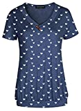 Fleasee Damen Basic V-Ausschnitt Kurzarm T-Shirt mit Knöpfen Stretch Falten Süße Herz Print Tunika Allover Anker Druck Sommer Oberteile