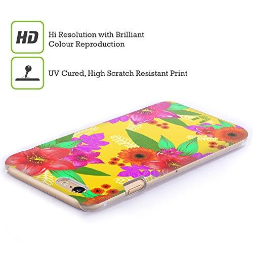 Head Case Designs Nero Fiori Dipinti Cover Retro Rigida per Apple iPhone 7 Plus / 8 Plus Giallo