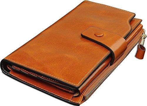 Tuopuda Damen Groß Kapazität Luxus Wachs Echtes Leder Geldbörsen mit Reißverschluss Geldbeutel Geldtasche Lang Portmonee Brieftasche (Braun) (Handy-braun Brieftasche)