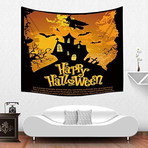 (Qishi Halloween Szenerie Reinigungstuch Tagesdecke Tischdecke Schals Digital Print Kürbis Hexe Ghost Innen Wand aufhängen Hintergrund Dekoratives Gemälde, 200× 150cm)
