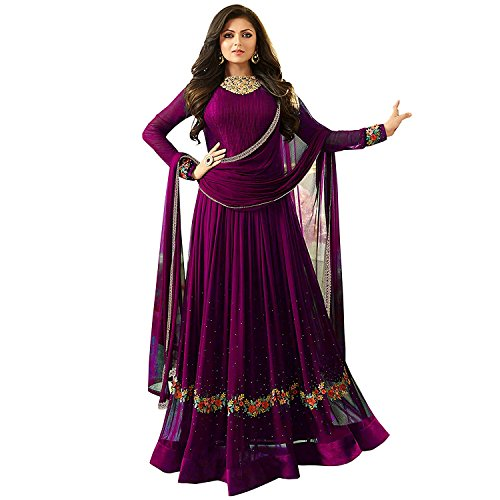 Women's Special Party Wear Purple Color Faux Georgette Embroidery and Diamond Work...