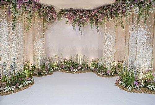 YongFoto 3x2m Vinyl Foto Hintergrund Hochzeit Bühnendekoration mit Blumen Fotografie Hintergrund für Hochzeit Fotoshooting Portraitfotos Fotostudio Requisiten