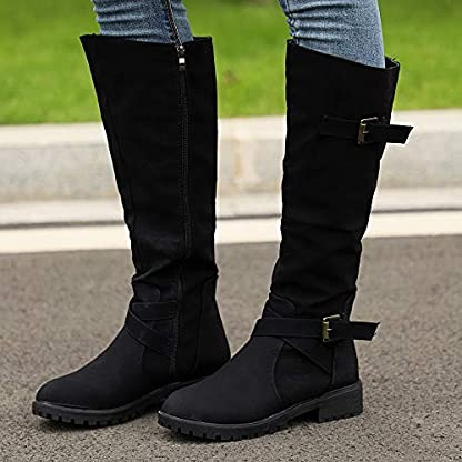 BANAA Womens Over The Knee Boots, Knee High Shoes Calf Biker Boots Ladies Zip Punk Shoes Combat Army Boots Plus Size Shoes Boots 4