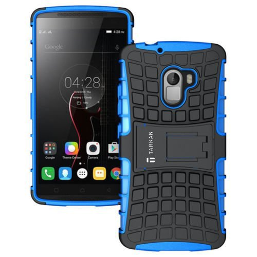 TARKAN Hard Armor Hybrid Rubber Bumper Flip Stand Rugged Back Case Cover For Lenovo K4 Note / Vibe X3 Lite (Blue)